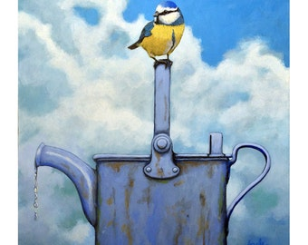 Cute Blue-Tit realistic bird portrait on antique watering can print from original painting