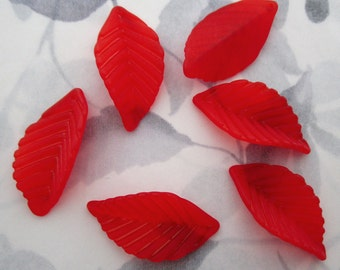 30 pcs. red frosted acrylic leaf charms pendants drops beads 36x19mm - f5370