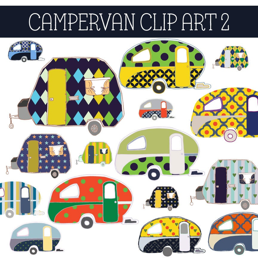 Camper Van Digital Clip Art Vintage Graphic Yellow Green