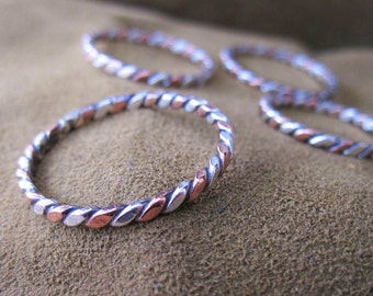 Earthy two toned twisted silver and copper ring - mixed metal two colored stack ring