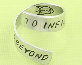 SALE - To Infinity and Beyond Wrap Ring With Rocket - Best Friends - Couples Ring - Adjustable Twist Aluminum Ring - Handstamped Ring