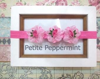 Baby headband, baby girl headband,girl headband, toddler headband,pink baby flower headband,baby hair accessory,pink toddler flower headband