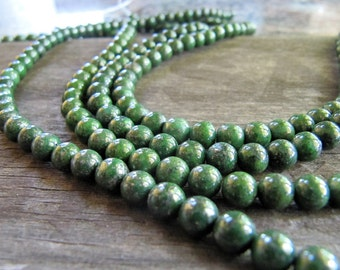 6mm Natural Stone Beads with Iron Pyrite Inclusions in Iridescent Forest Green, 1 Strand 15 Inch, 66 Beads, Dyed Gemstone Beads