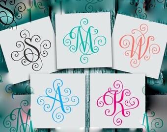 Monogram Decal - Single letter monogram - Monogram Sticker- Elegant Scroll Monogram - Tumbler Decal - Decal Initials - Cup Monogram Decal
