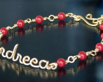 Name Bracelet, Personalized Bracelet, Swarovski Pearls, Gold Bracelet, BFF Gift, Wire name bracelet, Bridesmaids Gift