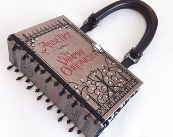 Anne Rice Vampire Chronicles Book Purse with Embellished Ribbon Beads - Vampire Book Clutch - Vampire Chronicles Book Cover Handbag