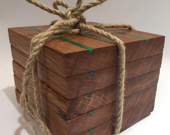 Bespoke Handmade Reclaimed Oak & Green Resin Wooden Coasters - Cornish Reclaimed Oak Floorboards