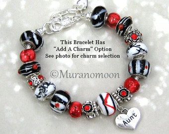 Red Black Glass Bead European Charm Bracelet For Women Ruby Red Crystal Charm Sister Mother Daughter Grandma Nana Aunt Charm Bracelet EB1384