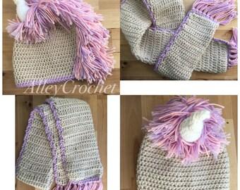 Unicorn Hat & Scarf set