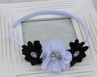 Black and white headbands, black satin headband, toddler headband, black and white flower girls headband, black and white hair accessories