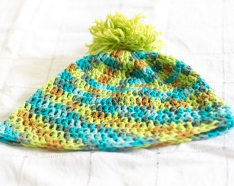 Cute Green and Blue Crochet Hat