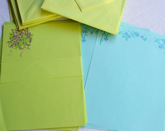 Vintage Stationery - Green and Turquoise Paper and Envelopes