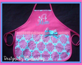 PERSONALIZED GIRLS Apron -Cooking Apron - Play Apron - Appliqued Initial and Name in Fushia and Turquoise
