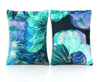 2 Lavender Sachets for Drawers, Indigo Floral with Turquoise and Gold, Unique Gifts for Women, Teacher, Mom