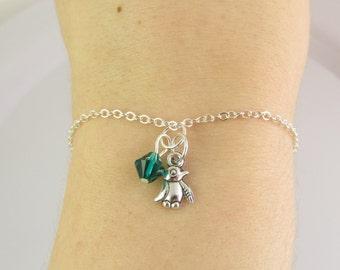 Penguin Bracelet- choose a birthstone, Penguin Jewelry, Penguin Charm Bracelet, Penguin Gift, Silver Penguin Bracelet, Tiny Penguin, Penguin