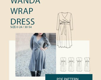 Wrap Dress PDF sewing pattern women / Women's dress digital pattern/ jersey dress PDF pattern for sewing/digital PDF pattern for download