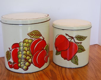 Vintage Canister,  Tin Kitchen Canister, Decoware Tin Canister, Flour Canister, Sugar Canister, Metal Canister, Fruit Tin