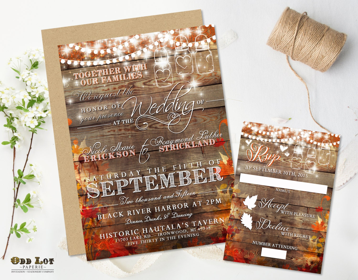 So many subtle details in this Rustic Wedding Fall Invitation and RSVP set. Features a worn rustic wood plank background with subtle fall leaves and flourish el