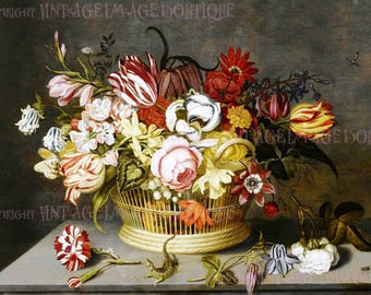 Antique 17th Century Botanical Still Life Painting Of A Basket Of Tulips & Other Flowers  5x7 Greeting Card