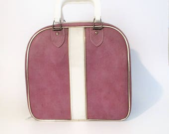 Mauve and White Bowling Ball Bag