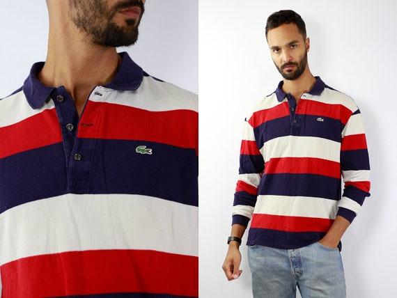 LACOSTE Poloshirt Lacoste Polo Shirt Lacoste Red Poloshirt Lacoste Vintage Striped Poloshirt Striped T-Shirt Lacoste T-Shirt  Lacoste Shirt