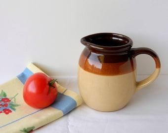 Brown Stoneware Pitcher. Storage Crock. Succulent Holder. Vintage Kitchen Ware. Rustic Kitchen Decor. Country French Farmhouse Decor.