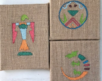 Southwest,Decorative,Burlap.Wall hanging, Wall art,Native American design,Hand painted,Home decor,Decorative,gift,Christmas present