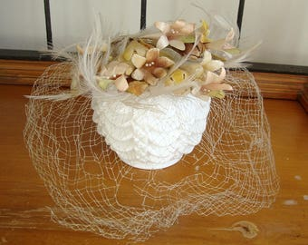 Vintage Millinery Flowers Hat with Netted Veil Hat Lovely!