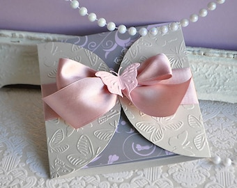 Flutter by Dusty Rose and Silver and Pink Butterfly Invitation for Baby Shower, Baptism, Butterfly Wedding *SAMPLE
