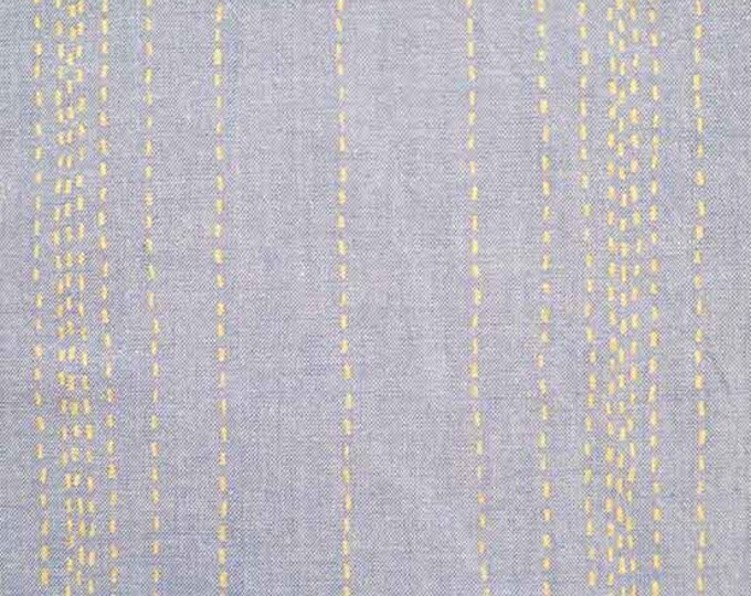 Chambray Rules - Threaded in Blue Metallic by Andover Fabrics - Cotton Chambray Fabric