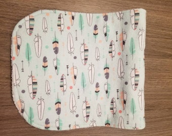 Modern feather burp cloth, flannel, mint and coral