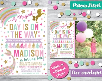DIGITAL COPY Personalised Unicorn Mermaid Invites Glitter Effect Girl Birthday Invitations