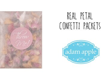 Biodegradable Confetti Packets for 25 wedding Guests real petal, Natural and 100% natural