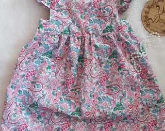 Pink floral print dress with open back size 2