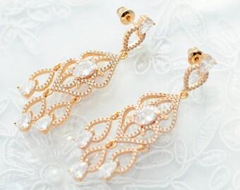 Gold wedding earrings Gold bridal earrings Crystal gold earrings  Wedding CZ earrings Wedding jewelry