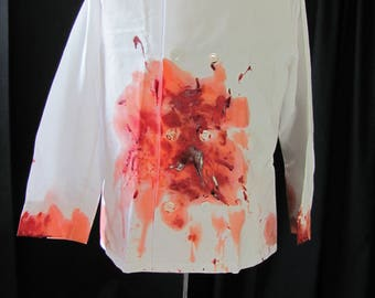 bloody zombie chef jacket (med/lg), bloody chef, long sleeves, butcher, costume, halloween costume, chef costume, undead, walking dead,  #1