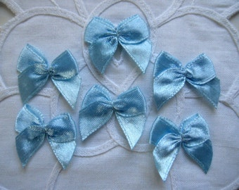 32 pcs Blue Satin Ribbon Bows for Crafting, Sewing, Embellishment, Doll Clothes, Baby Booties, Baby Shower, Invitation Cards, 1 inch