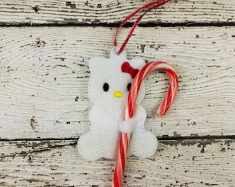 White Kitty with Bow Candy Cane Holder Ornament