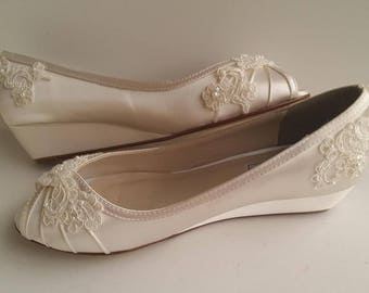 Ivory Wedding Shoes with Lace Ivory Lace Bridal Wedges Lace Wedding Shoes - Dyeable Shoes Pick Your color Bridesmaid Shoes