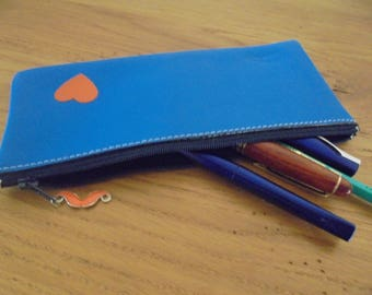 electric blue leather pouch
