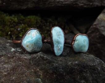Larimarring, Larimar, gemstone ring, Crystal ring, copper ring, ring boho, raw Crystal ring, Crystal, healing stone ring, Electroformed