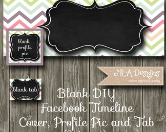 Blank Facebook Timeline Set - Chalkboard Chevron - Customize for your Facebook Business or Personal Page