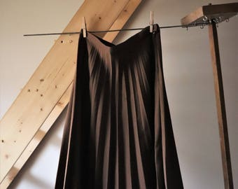 Vintage skirt pleated long, chocolate, 70's s / 80's Pleated Skirt
