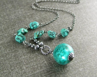 Blue Turquoise Necklace, Sterling Silver Necklace, Blue Stone Necklace, Natural Turquoise Pendant Necklace, Turquoise Beaded Necklace