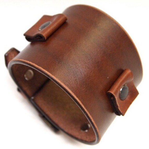 Leather Cuff Bracelet watchband Vintage Johnny Depp style wristband Handmade in USA for YOU by Freddie Matara