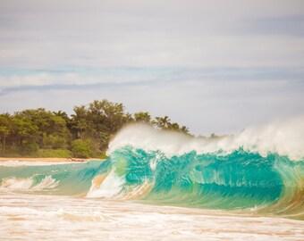 Large Surf, Wave on Hawaiian Beach Surf Photography Decor Print, Ocean, Hawaii, Maui, Oahu, Kauai, Tropical, Hawaiian Island, California