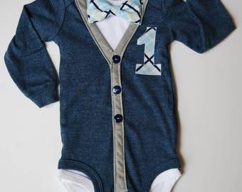 First Birthday Baby Boy Cardigan