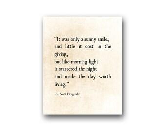 Sunny Smile F. Scott Fitzgerald Quote, Literary Art Print, Romantic Wall Art, Inspirational Quote Anniversary Gift, Fine Art Print