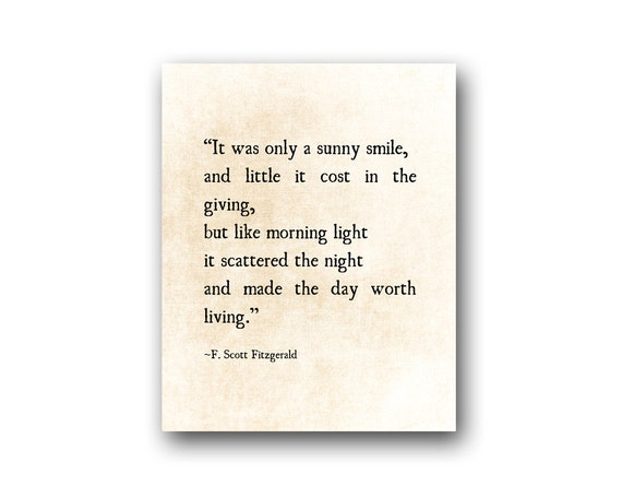 Sunny Smile F. Scott Fitzgerald Quote Literary Art Print