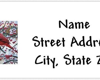 Winter Cardinals Christmas Scene Personalized Return Address Labels Buy 3 Get 1 Free